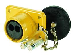 2-polige 24-Volt-Steckdose ohne Kontakte, Farbe: schwarz