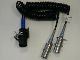 15 auf 2x7 polige Adapterwendelleitung mit Metallsteckern PUR, 24 Volt