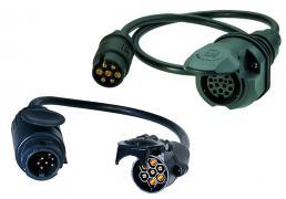 12-Volt-Adapter ISO 11 446/ ISO 1724 mit13-poligem Stecker und 7-poliger Kupplung, Leitungslänge 700 mm