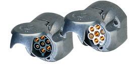 7-polige 12-Volt-Metallsteckdose mit Gummidichtung  im Deckel